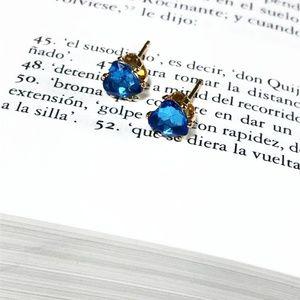 JEWELD BLUE HEART SAPHIRE STUD EARRINGS